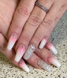 #coffinnails #nailtrends #calinails #nailsonfleek #prettynails #acrylicnails #ombrenails #blingnails #glowinthedark #glitternailsacrylic Glitter Acrylics, Acrylic Nails, Dark Ombre, Pretty Nail Designs, Bling Nails, Nail Trends, Nails On Fleek, Coffin Nails, Pretty Nails