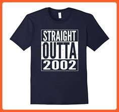 Mens Funny Straight Outta 2002 15th Years Old Birthday Gift Shirt Small Navy - Birthday shirts (*Partner-Link)