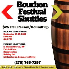 $25 Bourbon Festival Shuttle includes there and back!!!