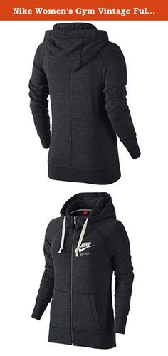 Nike Women's Gym Vintage Full-Zip Hoodie (X-LARGE, Anthracite/Sail). Women's Nike Sportswear Gym Vintage Hoodie YOUR NEW FAVORITE HOODIE. Women's Nike Sportswear Gym Vintage Hoodie elevates a closet staple with an extra comfortable feel. Made from super soft blended fabric, it features an oversized hood and a kangaroo pocket for added warmth. Blended cotton fabric has a super soft and lightweight feel. Oversized hood with thick drawcord offers warm coverage. Front split kangaroo pocket...