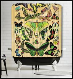 French Butterflies Shower Curtain - collage lunar moth butterfly insect butterflies shower curtain by MySillyPoni on Etsy https://www.etsy.com/listing/231964174/french-butterflies-shower-curtain