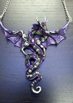 Purple and Black Dragon Pendant by MakoslaCreations on Etsy Polymer Clay Dragon, Polymer Clay Art, Polymer Clay Jewelry, Dragon Necklace, Dragon Jewelry, Beaded Jewelry, Unique Jewelry, Jewellery, Dragon Eye