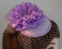 """Lilac  Cocktail Hat Fascinator, British Fashion Style Mauve from our """"Lovely-in-Lilac"""" Line for Wedding, Mother of Bride, Bridal Shower"""