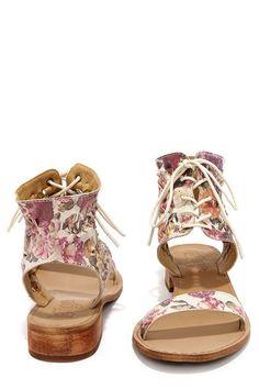 Latigo Rose Floral Leather Lace-Up Sandals at Lulus.com!