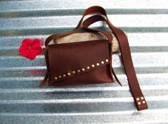 Rustic Handmade Leather Small Cross Body Bag by StickDogLeather, $60.00