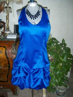 Homecoming WOW Dramatic  Gorgeous Sapphire Midnight Color Satin Dress NWT Sz 9