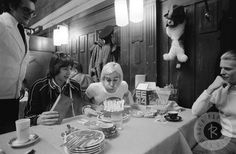 A truly legendary moment. Iggy Pop celebrating his 29th birthday with David Bowie, Pat Gibbons & Coco Schwab in a train in Basel, Switzerland in 1976