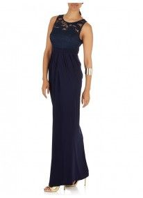 ELIGERE   Draped Lace Gown Navy