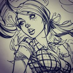 Ginger Cutie by J. J Scott Campbell, Comic Drawing, Art Drawings Sketches, Cartoon Art, Cartoon Girls, Figure Drawing, Comic Art, Comic Book, Art Reference