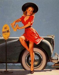"""1970 Elvgren Pin-Up Girl /""""A Refreshing Lift/"""" Water Dispenser Poster 20x24"""
