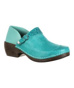 This 3-in-1 Teal Embossed Buckle Inspire Me Western Leather Clog is perfect! #zulilyfinds