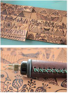 """impressions dessin sur cuir  /// L'idée du cuir comme enveloppe à réutiliser dans les objets édités. Les """"peaux """" leather bands for cuffs by geninne zlatkis"""
