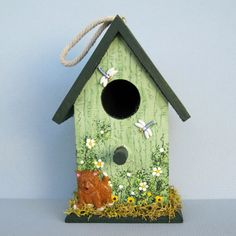 "Green Spring Birdhouse with Dog & Dragonflies, by Sandra Quinn of ""Sanqui Creations"" Etsy shop $9  ~  bird house hand-painted cottage shabby chic dragonfly"