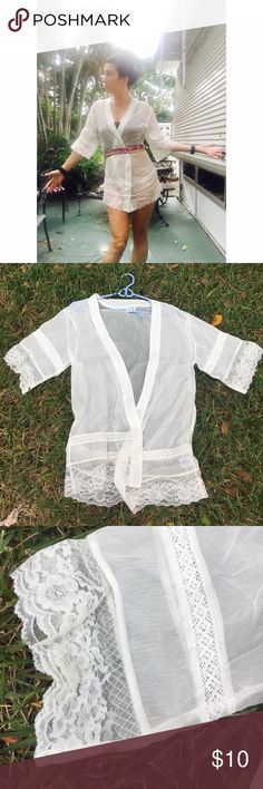 Sheer white lace beach wrap or lingerie robe  xs Essential beach piece bp Accessories Scarves & Wraps