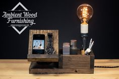 Perfect Gift! Wood Docking Station Lamp With Utility Storage and Apple watch dock charger - Desk Lamp Wood Lamp