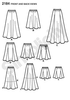 2184 Misses' Skirts  Misses' bias skirt in two lengths and gored skirt in three lengths sewing pattern.  $9.55