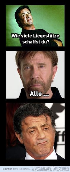 wer ist der boss!? - chuck norris, sly, Sylvester Stallone,liegestütze