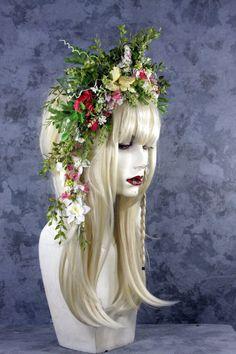 Flor de hadas - completo peluca rubia pelo casco traje Renacimiento feérico…