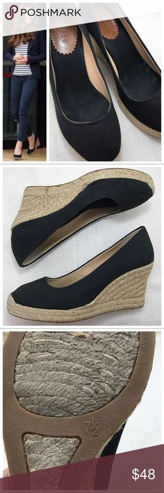 """J. Crew Black Espadrille Wedge Channel your inner Princess with these J. Crew espadrilles. Black canvas upper with braided wedge 3.5"""" heel; rounded toe. Excellent condition. J. Crew Shoes Espadrilles"""