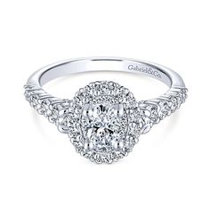 Lissa 14k White Gold Oval Double Halo Engagement Ring    #Engagementring #Engagementrings  #Weddingring #GabrielNY #GabrielandCo #Diamonds #Love  #oval #ovalcut