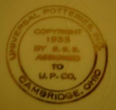 Pottery and Porcelain Marks: Universal Potteries