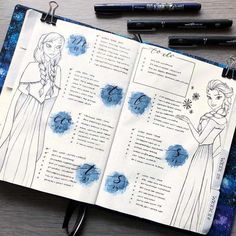 37 amazing disney inspired bullet journal spreads that will inspire your inner creative and inner child. Get disney inspired and creative with these spreads Bullet Journal Spread, Bullet Journal Ideas Pages, Bullet Journal Inspiration, Book Journal, Bullet Journals, Castle Illustration, Disney Bound Outfits, Frozen Theme, Journal Themes