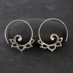 Sterling Silver Spiral Earrings - boho earrings - gypsy earrings -for standard piercings - Anakku Hoops Tribal Earrings, Silver Hoop Earrings, Flower Earrings, Silver Charms, Silver Necklaces, Silver Jewelry, Silver Ring, Wing Earrings, Gold Jewellery