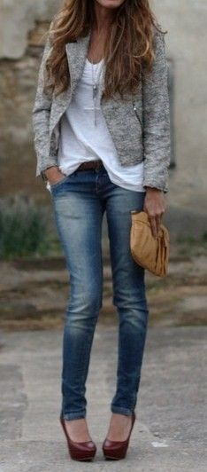 Textured grey blazer, loose white tee, faded skinny jeans, and burgundy heels.