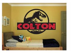 Dinosaur Name Wall Decal Sticker Large kids bedroom big fun Jurassic Park kid boy or girl name large script disney pink play big any letters
