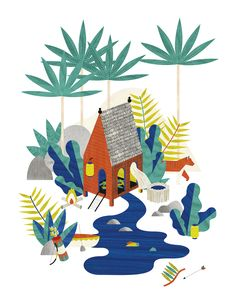 Les cabanes by Noémie Cédille   Affichées illustrées pour Les Petits Collectionneurs.