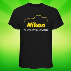 Hot Black White T Shirt Nikon Logo Silhouette Digital Camera DSLR