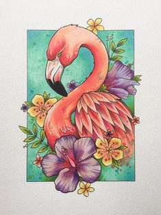 Flamingo print tattoo print flamingo decor gifts for women flamingo gifts tattoo design wall art watercolor painting Tiere Flamingo Decor, Flamingo Gifts, Flamingo Painting, Octopus Painting, Outline Drawings, Art Drawings Sketches, Sketch Art, Drawing Art, Drawing Ideas