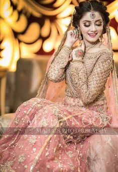 Ghanu❤ Pakistani Bridal Makeup, Bridal Mehndi Dresses, Indian Bridal Outfits, Bridal Dress Design, Pakistani Wedding Dresses, Bridal Lehenga, Bridal Style, Weeding Dress, Bridal Photoshoot