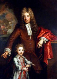 Portrait of an Unknown Gentleman and His Son with a Parakeet by  a British Artist,c. 1700