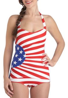 American Flag One Piece, #ModCloth not sure what my body looks like in a one piece..maybe