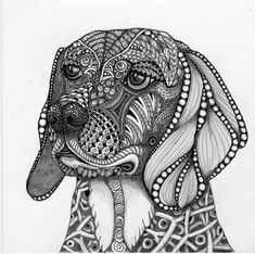This is Liz's Beagle, Bandit rendered in Ink and graphite.  An original Zentangle inspired artwork by Joni Hoffman.
