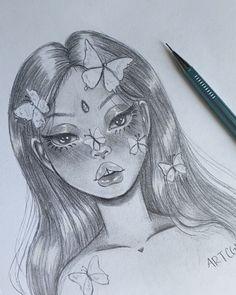 Girl Drawing Sketches, Art Drawings Sketches Simple, Pencil Art Drawings, Girl Pencil Drawing, Sick Drawings, Hippie Painting, Arte Sketchbook, Indie Art, Art Inspiration Drawing