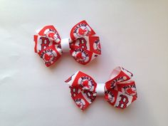 Boston Red Sox Hair Bows - Set of 2 by LittleTreasuresMB on Etsy https://www.etsy.com/listing/230955426/boston-red-sox-hair-bows-set-of-2