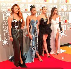 Little Mix News - Little Mix on the Brits red carpet! Little Mix Brits, Little Mix Outfits, Little Mix Style, Jesy Nelson, Perrie Edwards, Brit Awards 2017, Little Mix Photoshoot, Litte Mix, Mixed Girls