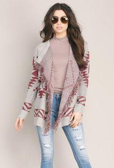 Aztec Pattern Knit Cardigan   Shop Sweaters at Papaya Clothing