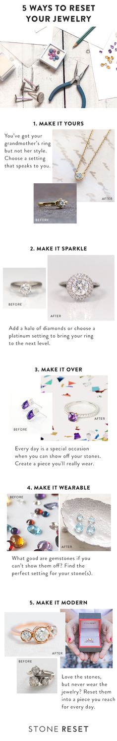 So many ways to make your jewelry shine like new. Request your free shipping kit to get started on creating jewelry you really love to wear. www.stonereset.com