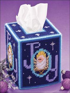 Plastic Canvas - Tissue Topper Patterns - Boutique-Style Patterns - Christmas Joy Tissue Topper