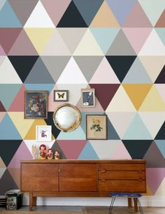 The wallpaper that launched Bien Fait. Geometric Wall Art, Geometric Wallpaper, Mosaic Wallpaper, Interior Styling, Interior Decorating, Interior Design, Paint Designs, Wall Design, Wall Murals