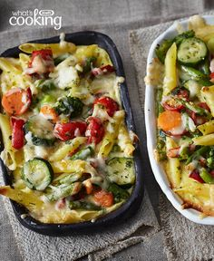 Alfredo Pasta Bake with Mediterranean Vegetables #recipe