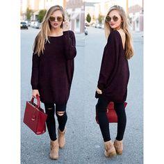 Use este Merlot v #fab volver suéter túnica con pantalones vaqueros o como un vestido!  Tanto NUEVO es irreal.  Venga a vernos hoy y hasta el 6!  COMPRAR OnlineLink EN BIO www.heartswoon.com