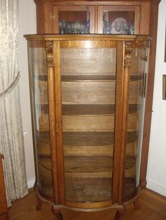 Antique Oak China Cupboard Curved Glass/Lions And Paw Feet
