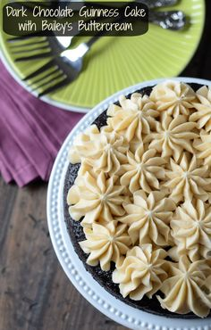 Dark Chocolate Guinness Cake with Bailey's Buttercream