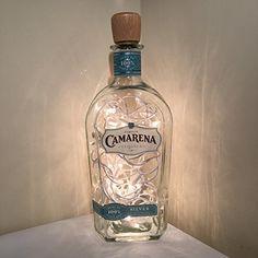 Tequila Bottles, Liquor Bottles, Vodka Bottle, Silver Tequila, Handmade Lamps, Bar, String Lights, Night Light, Bottle Lamps
