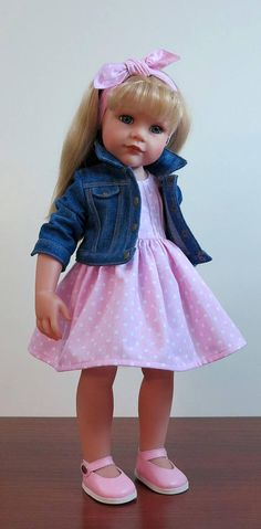 Gotz doll clothes 18 inch. 3 items in the set (dress, jeans jacket, headband) - 35 USD 4 items in the set (dress, jeans jacket, headband and shoes) - 47 USD Please select set you want. Doll is not included.