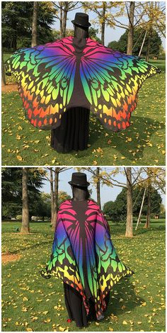 Colorful Ombre Chiffon Butterfly Wing Cape Rave Festival, Summer Winter, Butterfly Wings, Christmas Birthday, Silk Painting, Cool Costumes, Burning Man, Birthday Wishes, Cape